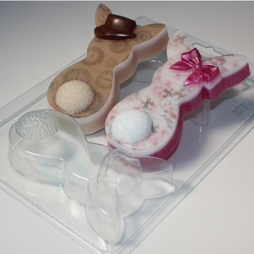 Пластиковая форма для шоколада Кролики пара