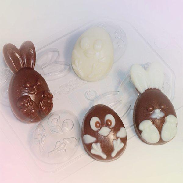 Пластиковая форма для шоколада Цыпленок и кролик