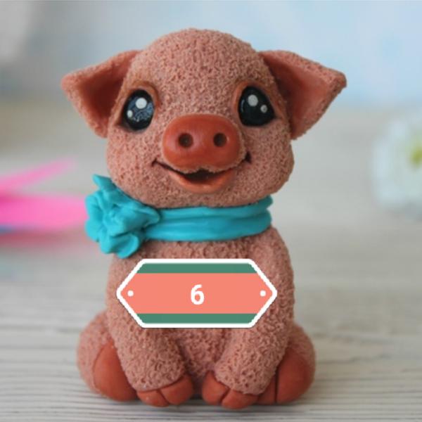 Силиконовая форма Свинка с бантиком
