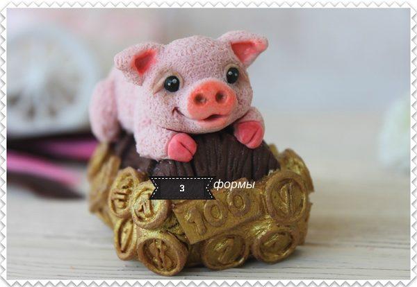 Силиконовая форма Свинка с монетами