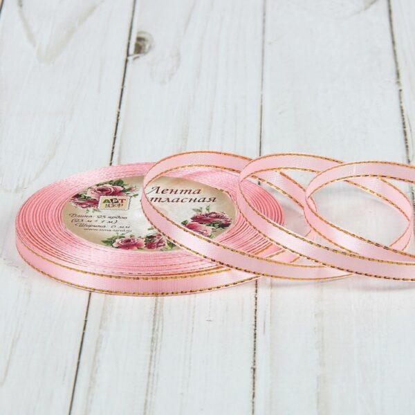 Лента-розовая золотые нити